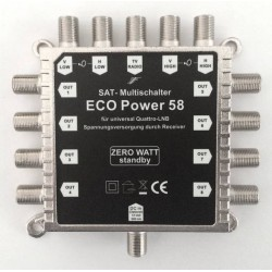 ECO Power58 multiswitch til parabol-flerbrugeranlæg. 1 Pos. til 8 modtagere