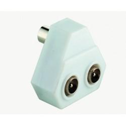 Splitter for antenna signals. Economy PVC version. 1 x Coax male to 2 x Coax female IEC 9.5