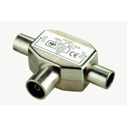 Splitter (fordeler) for radio og TV antennesignal, metalhus.Almindelige IEC 9.5 Coax antennstik.