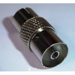 Antennestik - adapter til samling af antenneforlænger og tilslutningskabler. Metaludførelse sikrer god afskærmning.