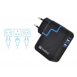 Sandberg USB oplader med dobbelt udgang og rejsestik