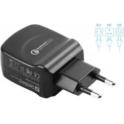 Sandberg AC Oplader QC 3.0 USB EU+UK+US
