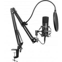 Streamer USB Mikrofon Kit - komplet med USB mikrofon, Popfilter, vindhætte og justerbar arm. 5 års garanti.