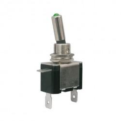 Vippekontakt m. LED lys, ON-OFF 12VDC/25A (grøn)