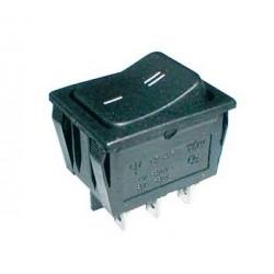 Vippeafbryder 250V/15A, 2 x ON/ON, 6 ben, sort