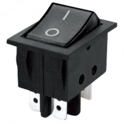 Vippeafbryder 250V/15A, 2 x (ON) -OFF, 4 ben, sort