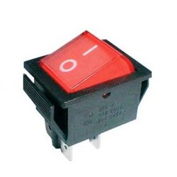 Rocker switch 4pin 2x ON-OFF 250V/15A - transparent red