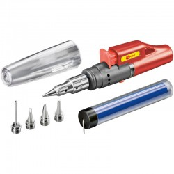 Butane gas powered soldering iron set with electric piezo ignition system