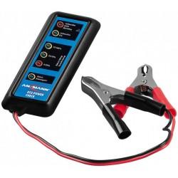 Compact battery tester for 12 V car batteries.