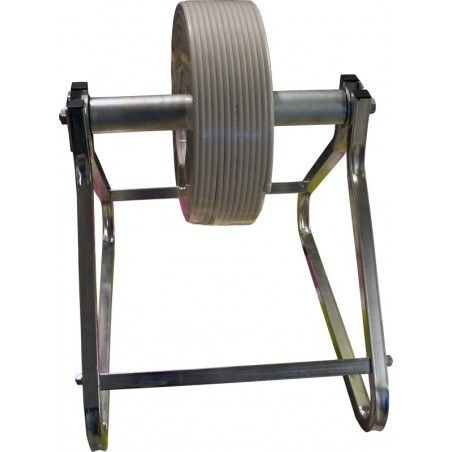 Cable dispenser with roller bearings.