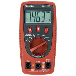 Digitalt multimeter med kabelbrudsdetektor og LED lyskilde. Testboy TB-2200 multimeter.