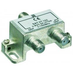 2-vejs splitter, til radio og TV antennesignal, 5-1000 MHz. Tilsluttes med F-stik