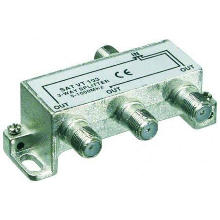 3 Way splitter for radio, TV and CATV antenna signals,5-1000 MHz.