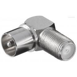 F-koax vinkeladapter 90 grader. Omsæt F-stik til alm. antennestik. Perfekt bag væghængt fladskærm.