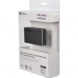 Fast external cardreader. Connected via USB 3.0. For use with SD/SDHC/XD/MS/CF/MMC/T-Flash/Micro SD/M2 memorycards