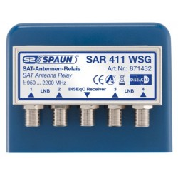 Spaun SAR 411 WSG DiSEqC switch 4-1. Downlead SAT signal from 4 LNB's in one downlead cable. TOP QUALITY SWITCH.