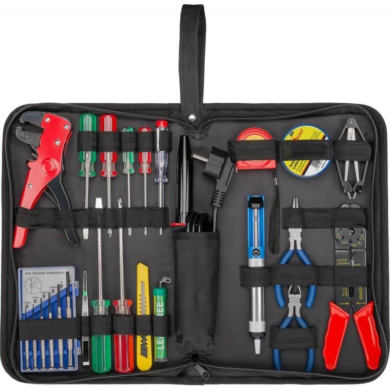 Elektro værktøjssæt 20 dele. Loddekolbe,loddetin,skruetrækkere, tænger og meget mere - i praktisk etui.
