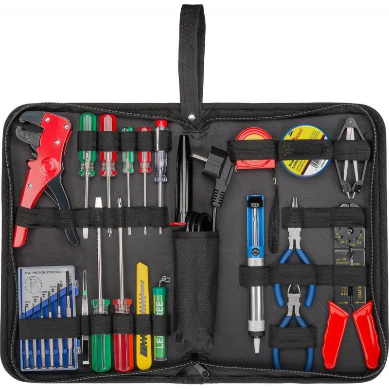Electro toolbag - 20 piece toolset in storage bag. Soldering iron, solder, screwdrivers, pliers etc. - All in one practical bag.