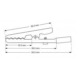 Krokodillenæb med skrue, rød. 55 mm.