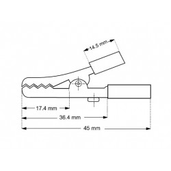 Alligatorclip with screw, black. 45 mm.