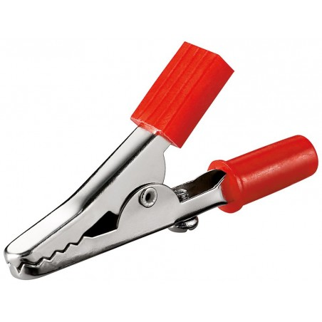 Alligatorclip with screw, red. 45 mm.