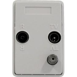 Vægdåse til SAT,TV og FM radio - Passer i FUGA® indbygningsdåser