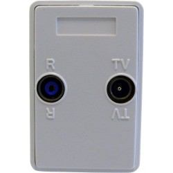 Wall outlet Freja, TV-FM, WHITE. Terminated (No loop through)