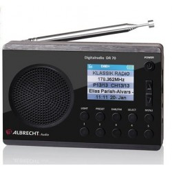 DAB+ Radio DR70. Superkompakt DAB+ radio og FM radio. Batteridrevet eller via stikkontakt