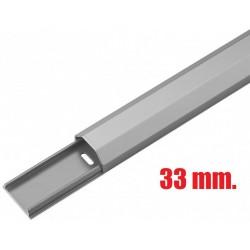 Kabelbakke - kabelkanal aluminium 33 mm. 1.1 meter sølv