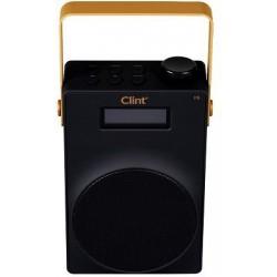 Billig DAB+ radio og FM radio Clint F6 - med genopladeligt batteri. Transistorradio format.
