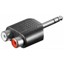 Adapter 6,35 mm Stereo Jack stik til Phono H+V