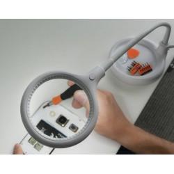 Luplampe, bordmodel clip-on. Luplampen sikrer godt lys og forstørrelse x 1.75 af arbejdsområdet.