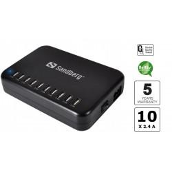 Sandberg USB Charger Pro - Oplad 10 enheder samtidigt. Kraftig lader til mobil og tablets.
