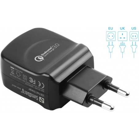 Sandberg AC Charger QC 3.0 USB EU+UK+US