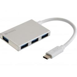 USB-C til USB 3.0 A Pocket hub. Tilslut 4 USB enheder til USB-C Sandberg