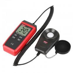 Luxmeter til hurtig måling af lysstyrke, med sensor på spiralledning.
