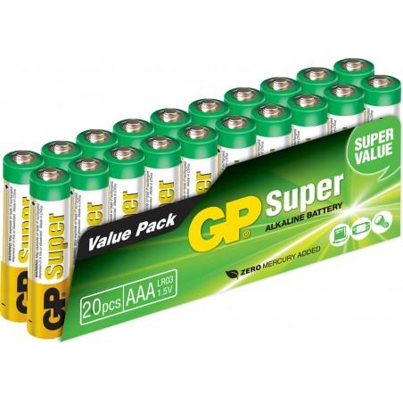 AAA Batteri 1.5 Volt Økonomipakke GP Super alkaline batteri AAA 20 Pak