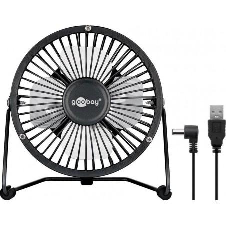 Black USB Desktop fan - quiet cool breeze - Ø15 cm.