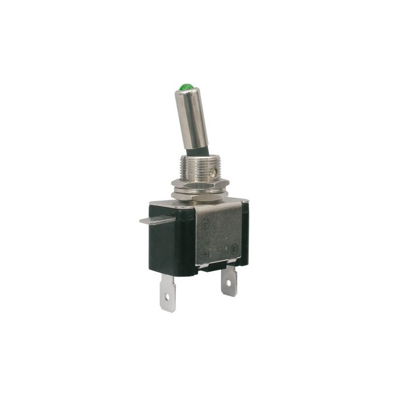 Toggle switch 2pol./2pin ON-OFF 12VDC/25A (green LED)