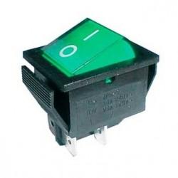 Vippeafbryder 250V/15A, 2 x ON/OFF, 4 ben, grøn/sort