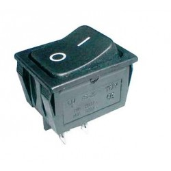 Vippeafbryder 250V/15A, 2 x ON/OFF, 4 ben, sort
