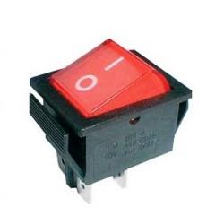 Vippeafbryder 250V/15A, 2 x ON/OFF, 4 ben, rød/sort