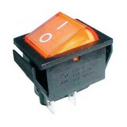 Rocker switch 4pin 2x ON-OFF 250V/15A - transparent yellow
