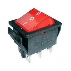 Rocker switch 6pin 2x ON-OFF-ON 250V/15A - transparent red
