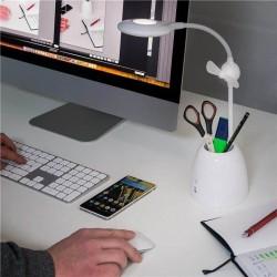 LED desk lamp with mini fan and pen box