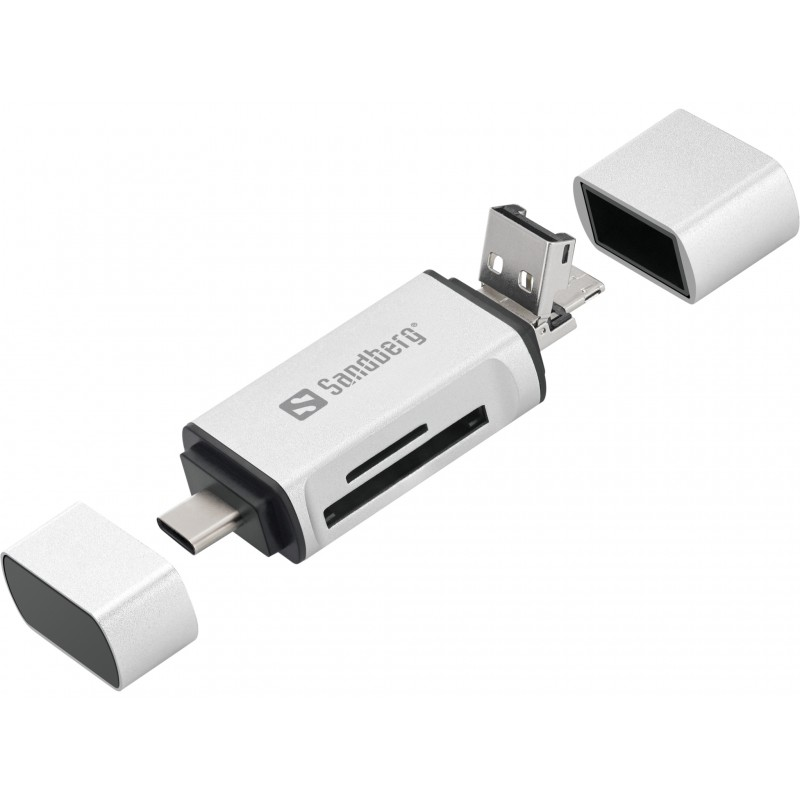 Kortlæser til USB-C+USB+MicroUSB. Læser SD og Mikcro SD kort. Solid udførelse.
