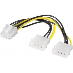 PCI-E strømkabel 2x4 Pin- 1x8 Pin. 15 cm.