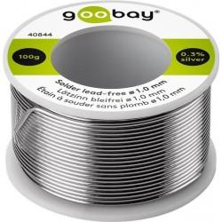 Solder Ø1.0 mm, 100 g. roll. 0.3% Silver, No lead.