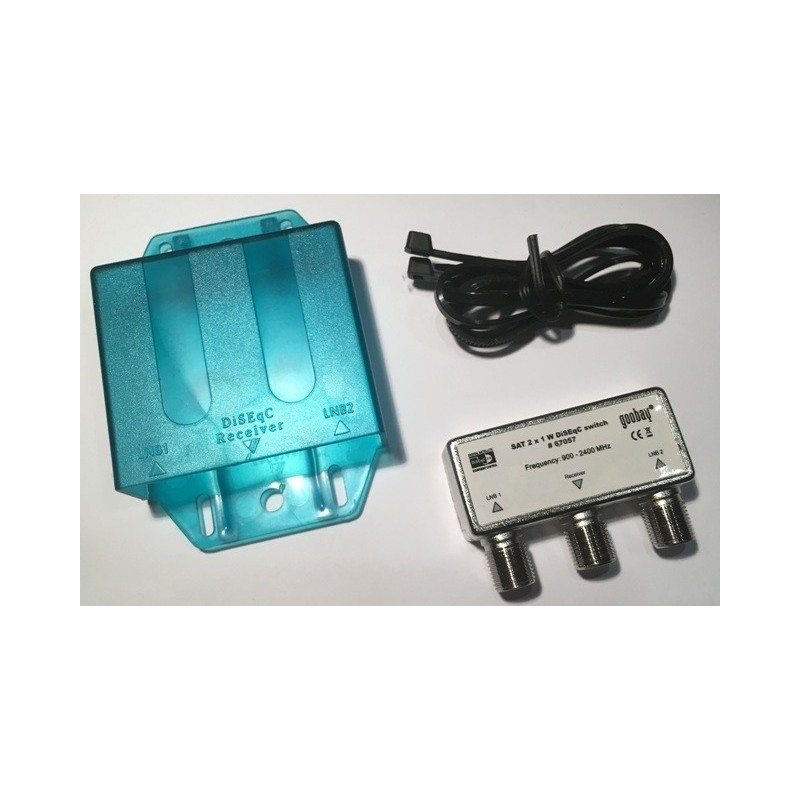 DiSEqC 2.0 switch 2x1 for satellite dish with 2 x LNB's