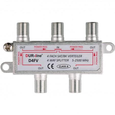 4 vejs splitter 5-2500 MHz,Fordel radio, TV og parabolsignaler. DUR-line D4FV